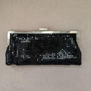 Bebe black mesh evening clutch w/chain strap